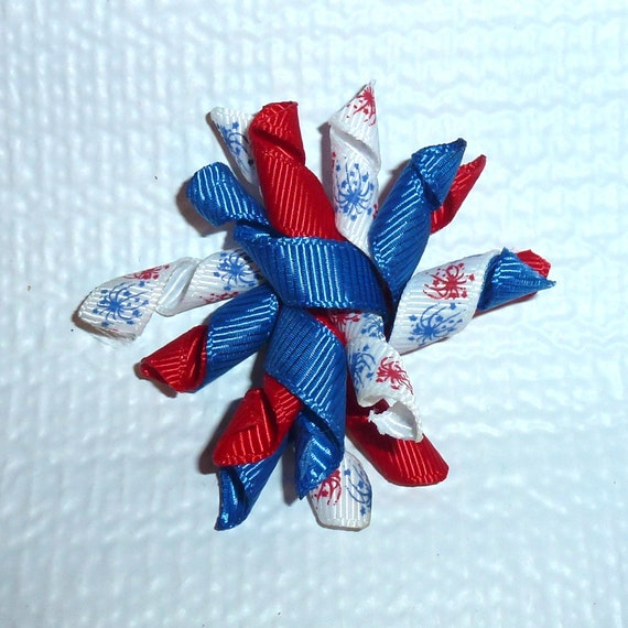 Puppy Bows ~Patriotic 4th of July red/white/blue Korker loop  dog bow  pet hair clip barrette or latex bands   (fb120)