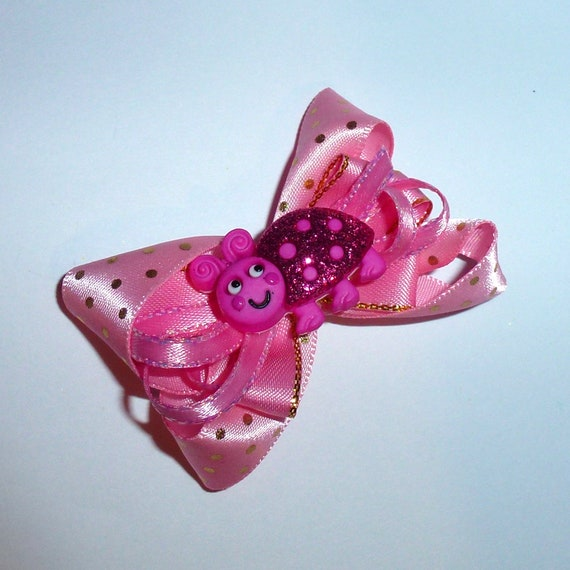 Puppy Bows ~Pink gold dot love bug dog bow  pet hair clip barrette or latex bands (fb134)