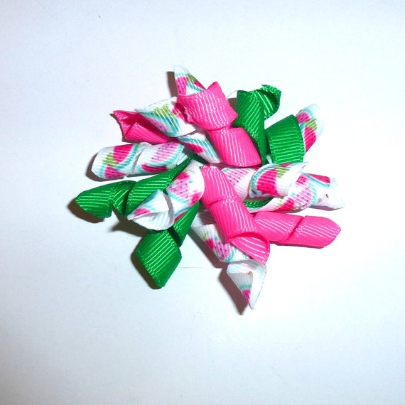Puppy Bows Summer watermelon pink green Korker loop  dog bow  pet hair clip barrette or latex bands corky curly corker