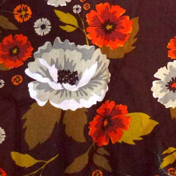 "Puppy Bows craft supplies ~ cotton fabric brown orange floral  6"" x 42"""