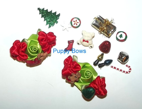 Puppy Bows ~SMALL CHRISTMAS FLOWER dog bow  pet hair clip barrette