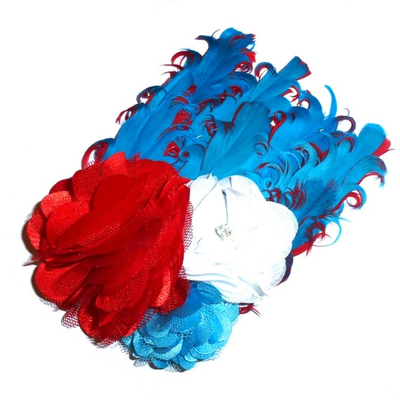 Puppy Bows ~ Memorial day 4th of July patriotic flower feather dog collar slide decoration   ~USA seller (DC4)