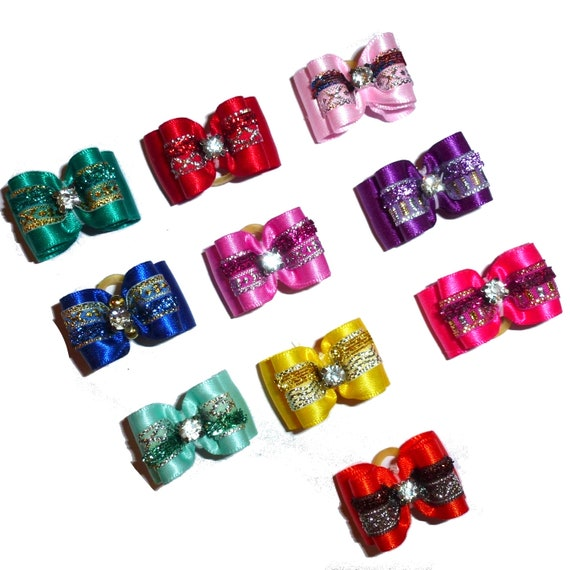 """Puppy Dog Bows ~ 7/8"""" satin velvet center  pet hair show bow barrettes or bands (FB11)"""