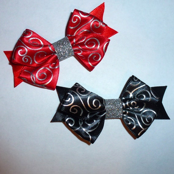 Puppy Bows ~Black silver or red silver swirl dog pet  hair bowknot bow bands or barrette or collar slide  (fb116)~USA seller