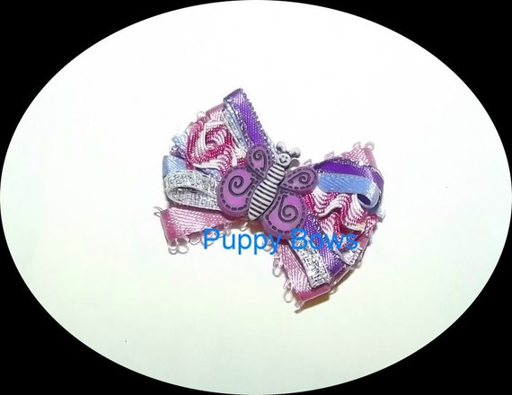 Puppy Bows ~Purple pink butterfly wild loop dog bow  pet bands, hair clip or  barrette  (fb13)
