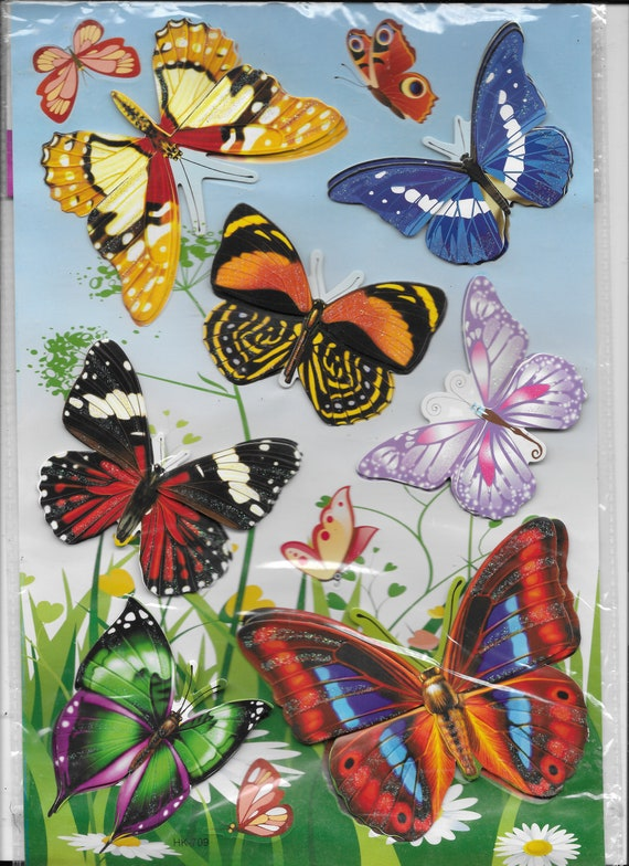 craft supplies scrapbook wall stickers butterflies flowers roses dimensional  embellishments stickers 1 sheet