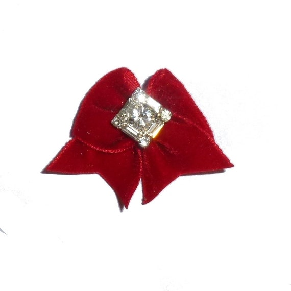 Puppy Bows ~ Red velvet dog show hair bow with rhinestone crystal diamond center ~USA seller