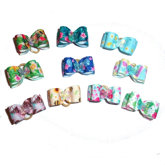 """Puppy Bows ~ 5/8"""" butterfly garden double loop topknot dog  show bow (FB290)"""