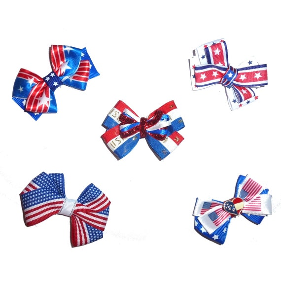Puppy Bows ~Patriotic 4th of July red/white/blue  dog bow  pet hair clip barrette or latex bands (fb167)