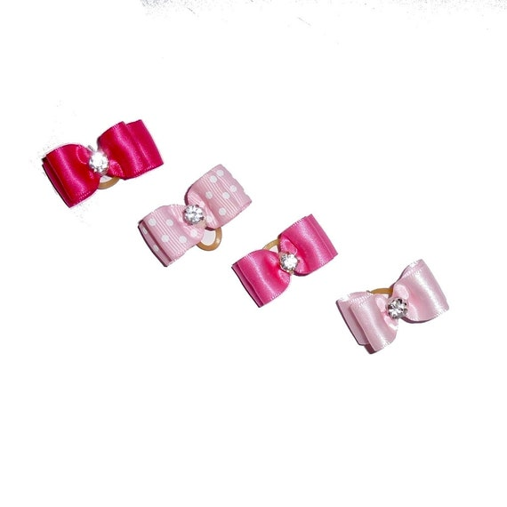 """Puppy Bows ~  PINK lots of pink to choose 5/8"""" stiffened show pet hair bow  ~USA seller (FB256)"""