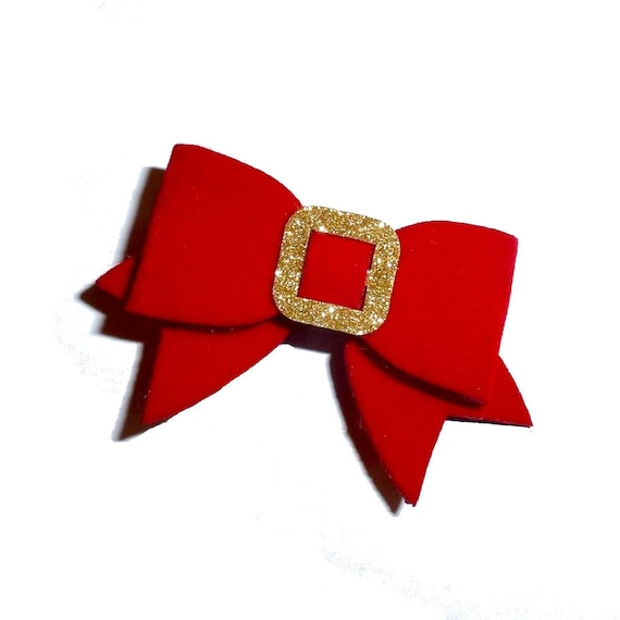 Puppy Dog Bows ~ Red velvet and gold glitter buckle bowknot pet hair bow barrettes  (fb36)