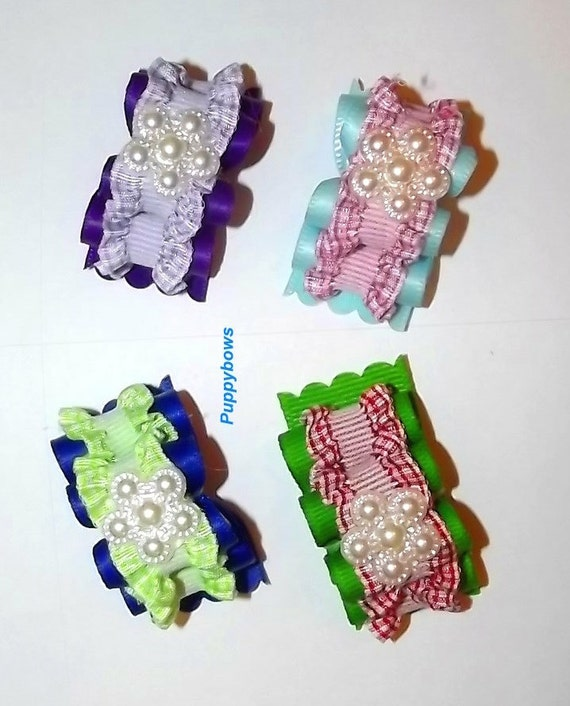 Puppy Bows ~Set of 4 gingham double looped dog grooming bow pet hair clip barrette Purple pink green red
