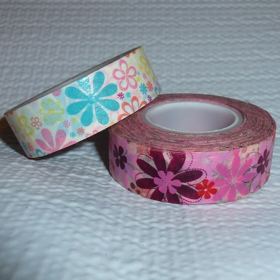 Puppy Bows ~ craft supplies 2 rolls scrap booking washi tape flowers pink  ~ US seller