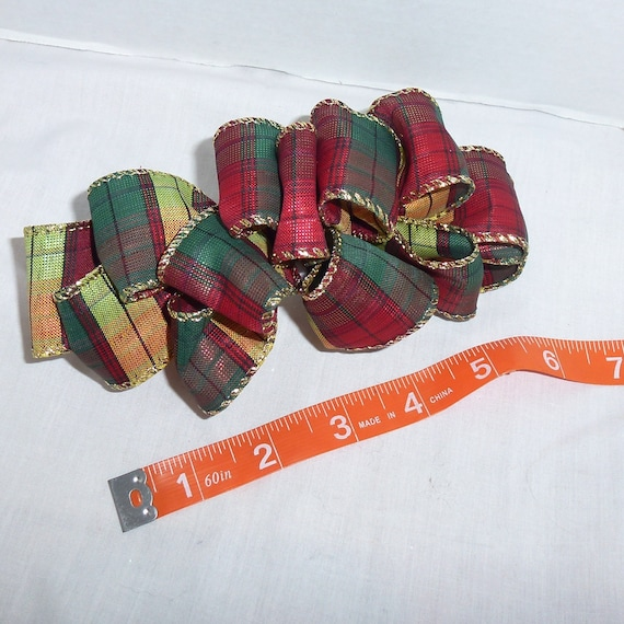 Becky Bows~  Barrette Hand crafted huge ribbon BIG hair bow Women or Girls giant fall christmas plaid red green gold