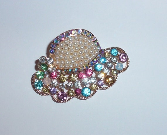 Puppy Bows ~  Pearl multi hat or butterfly or bowknot rhinestones dog bow  pet hair clip topknot barrette (rh1)