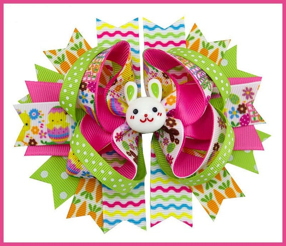 Puppy Bows ~ Easter bunny rabbit green pink spring dog collar slide flower barrette hair accessory  ~USA seller (DC9)