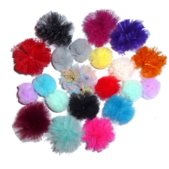 Puppy Bows ~disco balls dog grooming bow all colors of tulle pom poms