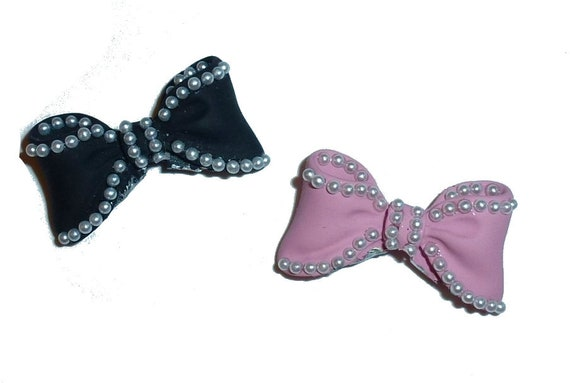 Small pearl enamel bowknot pink or black dog bow  pet hair clip topknot barrette Style rb85