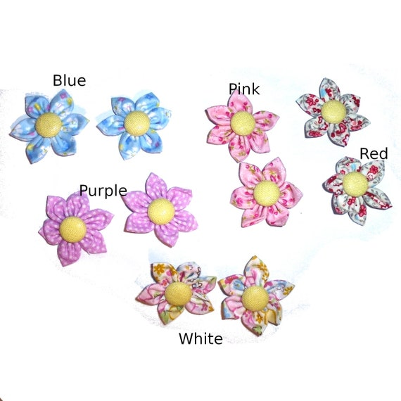 Puppy Bows ~ fabric daisy flower PAIRS pink purple blue red dog grooming bow pet hair barrette  (fb148)