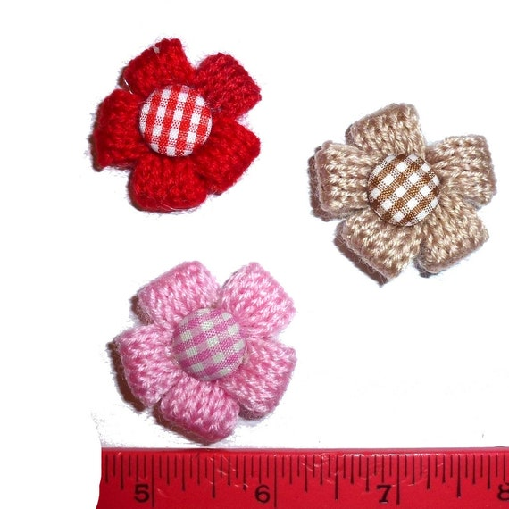 Puppy Bows ~ Knit daisy flower pink , brown red colors dog  bow pet hair barrette  (fb263)