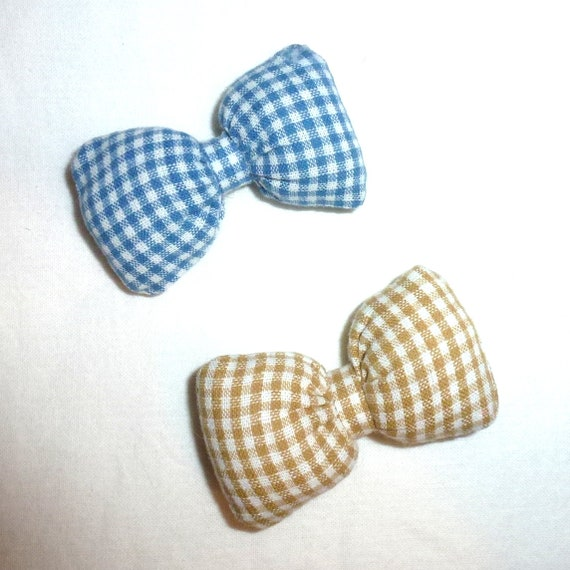 Puppy Bows ~ Boys puffy gingham blue or brown dog bow   (fb202)