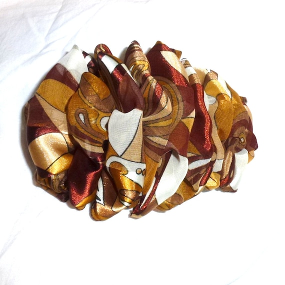 Becky Bows ~  Barrette  chiffon large vintage style scarf Hand crafted over sized  BIG hair bow brown gold