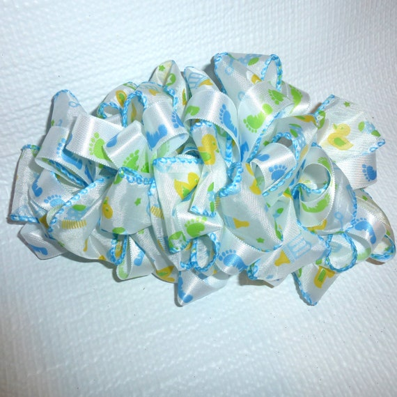 Becky Hair Bows for ladies ~  Barrette Hand crafted huge ribbon BIG hair bow  or Girls giant boy baby shower blue green