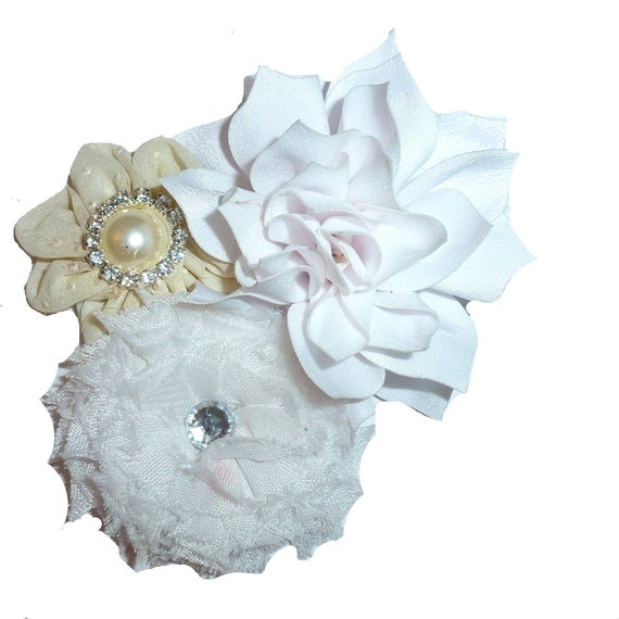 Puppy Bows ~ Dog collar slide bow large dog hair bows white cream ivory and rhinestones ~USA seller (dc8)