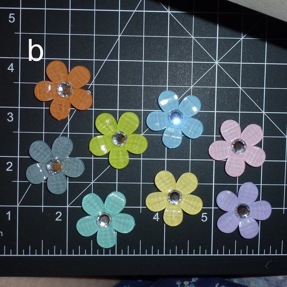 Puppy Dog Bows ~ cute five-petal flowers with rhinestone center pet hair bow barrettes or bands (fb350b)