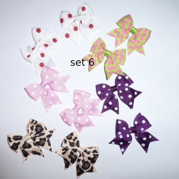 Puppy Bows ~ 10 dog bow for girls - pairs dog grooming pet hair bows - set 6