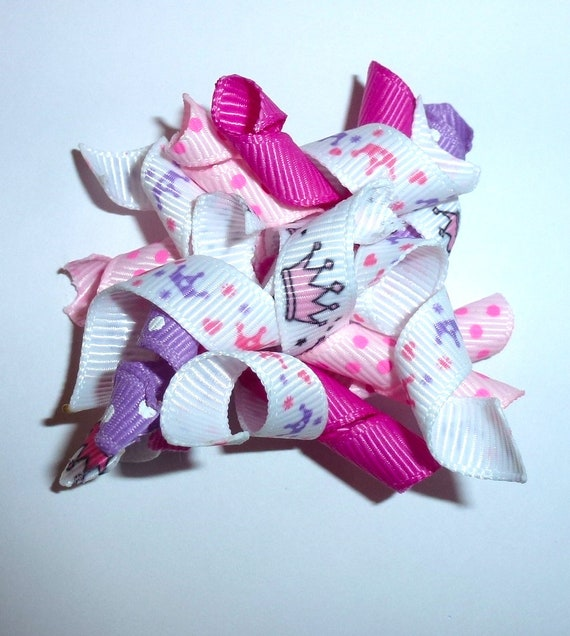 Puppy Bows ~Pink purple princess crown Korker loop  dog bow  pet hair clip barrette or latex bands   (fb120)