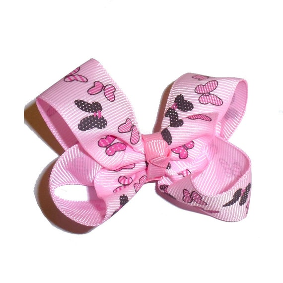 Puppy Bows ~ Minnie Mouse pink twisted boutique pet hair bow or dog collar slide (fb217)
