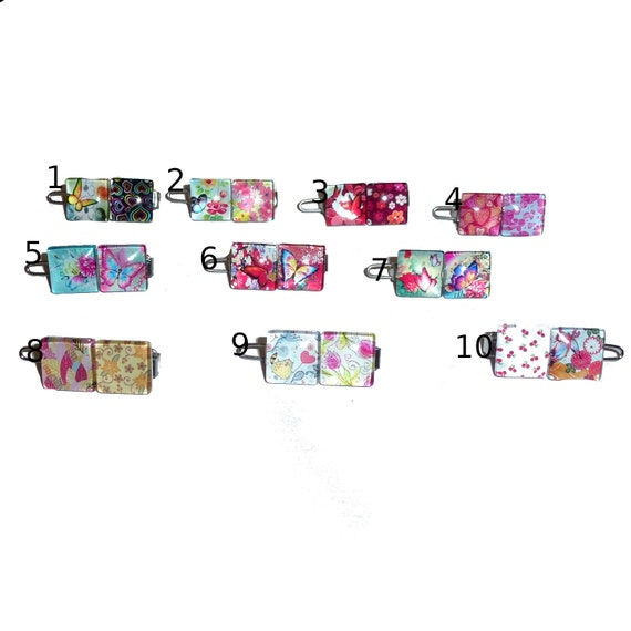 """Puppy bows TINY 3/4""""  fabulous flower and hearts  pet hair barrette clip (fb89)"""