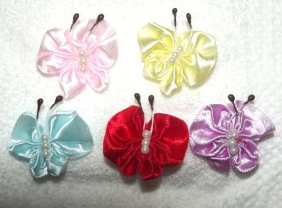 Puppy bows ~ craft supplies Satin butterfly appliques embellishments with tiny pearls
