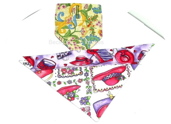 CLEARANCE SALE 50% OFFPuppy Bows~2 over the collar dog pet bandana medium red hat yellow floral~US Seller