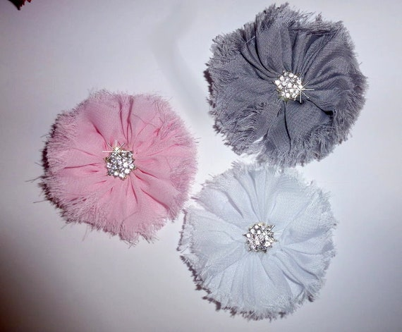 CLEARANCE ~ Shabby chic pink gray white purple frayed pet hair bow barrettes or bands (fb103)