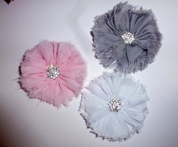 Puppy Bows ~ Shabby chic pink gray white purple frayed pet hair bow barrettes or bands (fb103)