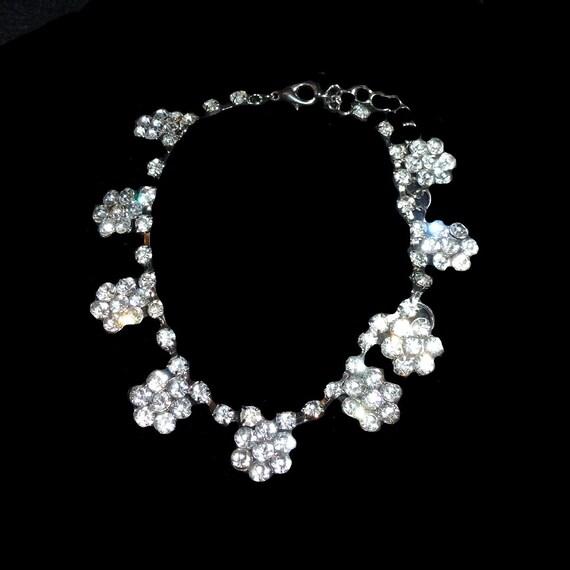 "Puppy Bows 8""-12"" rhinestone crystal flower dog necklace collar jewelry (fb146)"