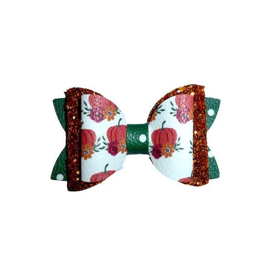 "Dog hair bow ~  BIG bow Thanksgiving pumpkin orange glitter 3"" dog hair bow or collar slide bands or clip (fb210)"