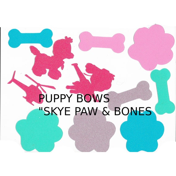 Puppy Bows ~ Skye paw bones helicopter confetti party table scatter glitter cut outs color
