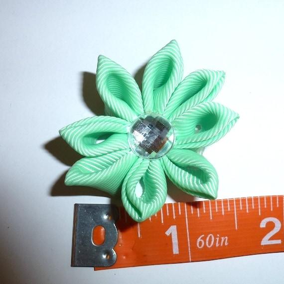 Puppy Bows ~  handmade mint green Japanese Kanzashi flower dog hair bow  (fb63)