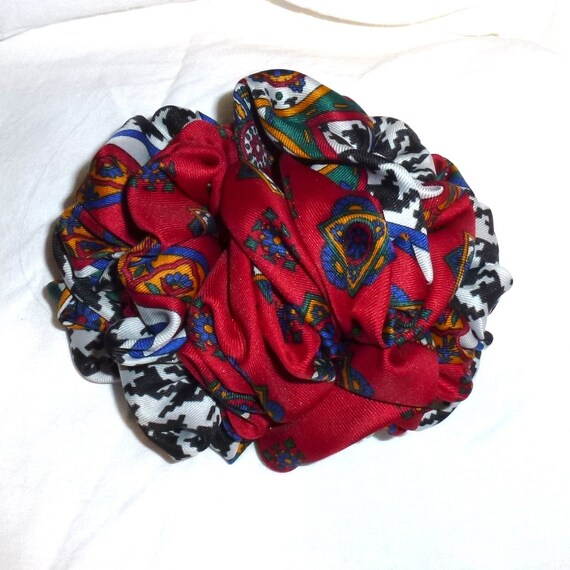 Becky Bows ~  Barrette  chiffon large vintage style scarf Hand crafted over sized  BIG hair bow Women red navy