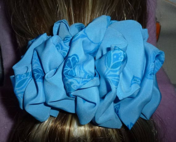 Becky Bows ~ ROSETTE Barrette Hand crafted giant huge Scarf BIG hair bow Women or Girls blue tulips