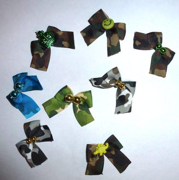 Puppy Bows ~8 green black camo boys EVERYDAY BOWS Yorkie Maltese Shih Tzu ~Usa seller (fb81)