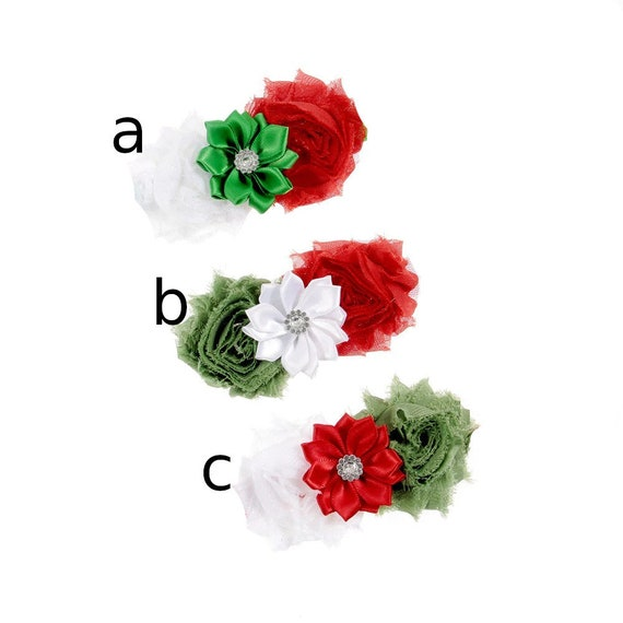 Puppy Bows ~ Large dog bow Christmas collar slide flower red green  ~USA seller (DC6)