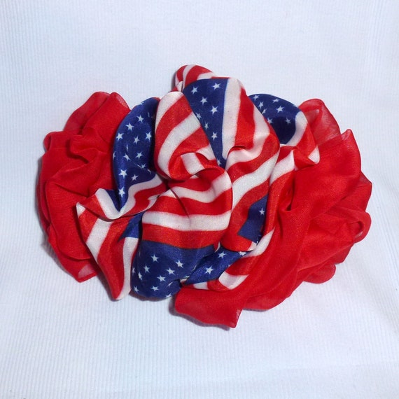 Becky Bows ~  Barrette ribbon Hand crafted over sized  BIG hair bow Women or Girls USA flag red