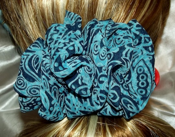 Becky Bows ~  Barrette scarf Hand crafted oversized  BIG hair bow Women or Girls teal blue black