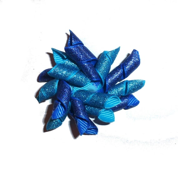 Puppy Bows blue glitter Korker loop  dog bow  pet hair clip barrette or latex bands corky curly corker