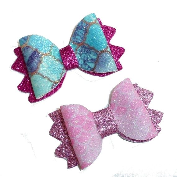 Puppy Bows ~  Mermaid scales pink blue glitter pet hair bow with latex bands or barrette (fb142)