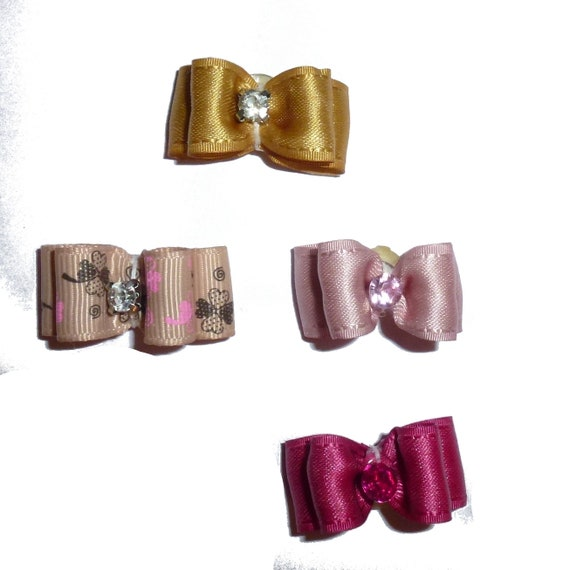 "Puppy Dog Bows ~ 5/8"" satin bowknot SET OF 4! girls pet hair show bow barrettes or bands (saset3)"